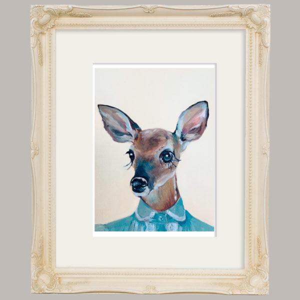 Doe Eyed Deer in Ivory Frame